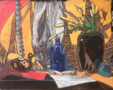Intermediate: color theory applied to pastel still life (# 3)