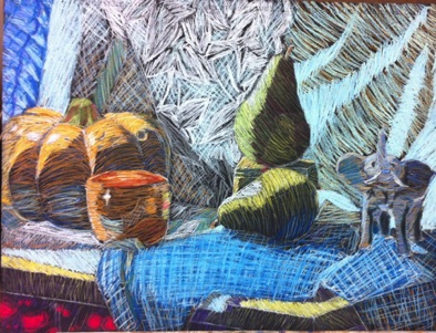 Intermediate: color theory applied to pastel still life (# 2)
